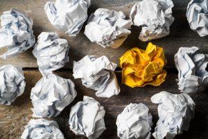 Papierkugeln als Symbol fr Ideen